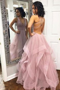 custom drsses Blush Pink Ruffles Ball Gown Criss-Cross Backless Prom Dresses V-neck Long Prom Dress Tulle Evening Dress Formal Gowns Hot Prom Gowns Prom Dresses Long Pink, Straps Prom Dresses, Open Back Prom Dresses, Backless Prom Dresses, Tulle Prom Dress, Ball Dresses, Dress Long, Dresses Dresses, Light Purple Prom Dress