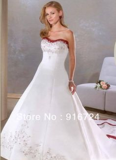 baae98f309f trajes de novia New arrival Sweetheart satin Wedding gown 2015 Bridal Gown  red and white wedding dresses