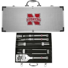 Nebraska Cornhuskers 8 pc Stainless Steel BBQ Set w/Metal Case