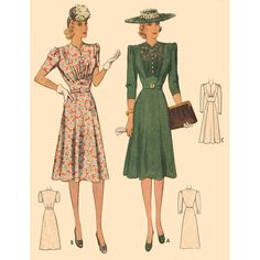 1940s Style Gathered Bust Inset Dress with Four Gore Skirt Custom Made in Your Size From Vintage Pattern