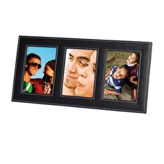 3 in 1 Leatherette Photo Frame Features Leatherette Finish White Contrast Stitching Holds Three 9cm x 12.7cm Photos