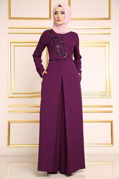 Çiçek Payetli Tulum Abiye MDH6455 Mürdüm Curvy Girl Fashion, Modest Fashion, Fashion Dresses, Abaya Fashion, Muslim Fashion, Estilo Abaya, Techniques Couture, Hijab Dress, Moda Emo