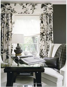 Black & white floral valance + curtains #window #valances