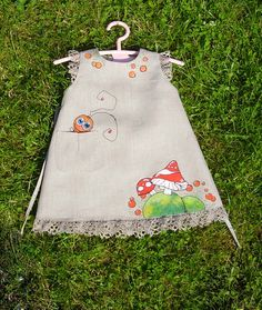 "Mushroom - painted dress - unit work - size by height 32""/82 cm for 7-8 years - children summer clothing."