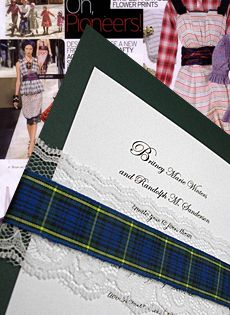 ivy green wedding invitations with lace and blue tartan plaid wrap $1.74