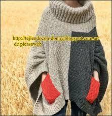 Resultado de imagen para ponchos tejidos a palillo y con mangas