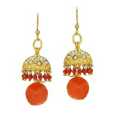 Amaya - Gold Plated Rajasthani charm earrings with Peach Jade Crystal drop embellishment; Versatile earrings that can be worn day-to-night.