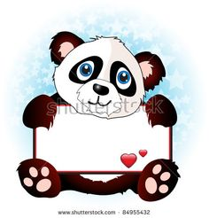 A cute cartoon panda holding a banner with hearts on subtle star background. Space for your text. EPS10 vector format