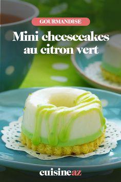 Pour changer de la bûche à Noël, tentez ces mini-cheesecakes au citron vert. #recette#cuisine#cheesecake #citron #citronvert#patisserie #noel#fete#findannee #fetesdefindannee Mini Cheesecakes, Pudding, Sweet Recipes, Party Desserts, Philly Cream Cheese, Key Lime, Sweet Treats, Custard Pudding, Puddings