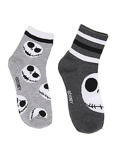 <p>Cozy up and fall in love… or just relax on the couch in these comfy and super cute varsity socks designed with a grinning Jack Skellington design.</p>  <ul> <li>97% polyester, 3% spandex</li> <li>Machine wash warm</li> <li>Imported</li> </ul>