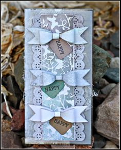#cheeryld The base of my card is an 8x8 piece of pattern paper, folded in half. I then cut a layer of vellum at 3.75 x 7.75 and adhered in the center. Dies used:  Pretty Pretty Bows (Set of 2) - B422; Butterflies Flying Among the Vines Mesh Border - B401; Francesca Border - B159; Tags 2 - B261 http://www.cheerylynndesigns.com