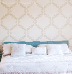 Bedroom Makeover using Acanthus Trellis Wall Stencils - Wall Painting Stencils with Damask Wallpaper Pattern - Royal Design Studio Damask Wall Stencils, Wall Stencil Patterns, Wallpaper Stencil, Large Stencils, Wall Wallpaper, Stencil Designs, Wallpaper Designs, Trendy Wallpaper, Paint Designs
