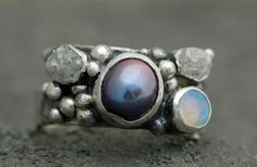 Raw Diamonds, Opal, and Steel Grey Pearl in Textured Sterling Silver Ring- Custom Made