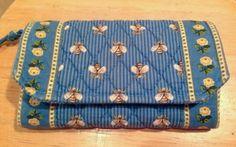 Vera Bradley light blue bumble bee yellow roses print wallet zip around clutch