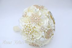 Wedding Brooch Bouquet Ivory and  Gold wedding by FaberAccessories