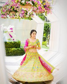 Looking for Bride in lime green and pink lehenga on mehendi? Browse of latest bridal photos, lehenga & jewelry designs, decor ideas, etc. on WedMeGood Gallery. Lehenga Images, Happy Bride, Bollywood Lehenga, Lengha Choli, Sharara, Sarees, Bridal Dupatta, Mehndi Outfit, Green Lehenga