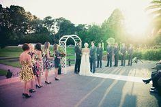 Outdoor sunset wedding ceremony. Vintage. www.kienlam.net