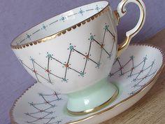 Vintage Atomic Age tea cup and saucer, Tuscan Mid Century Modern teacup, English tea cup, Pale green bone china tea cup, Wedding gift