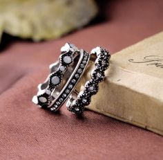 Set of Three #Rings - Antique #Silver Plated With Crystals