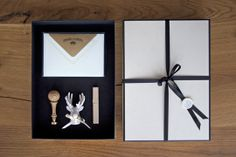Gift package with a voucher for the elaboration of a personal monogram, Champagne Color, Gift Packaging, Monograms, Switzerland, Deer, Wax, Porcelain, Greeting Cards, Gift Wrapping