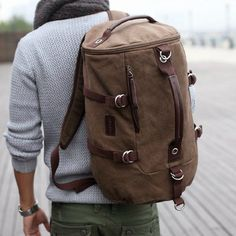 Men's Brown Canvas Outdoor Camping Travel Tote Shoulders Duffle Gym Bag Rucksack