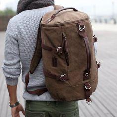Men's Brown Canvas Outdoor Camping Travel Tote Shoulders Duffle Gym Bag Rucksack