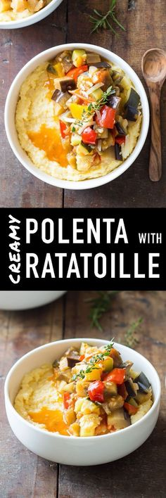 Creamy Polenta with Ratatoille. This healthy and delicious dinner will leave your family asking for more! Nutritious and tasty, it's one of my favorite recipes!