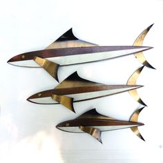 Wood and Metal Trio of Fish Masketeer type Mid Century Wall Decor | eBay