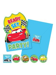 Cars 1st Birthday Invitations (8-Pack)! See more birthday party planning ideas at BirthdayinaBox.com!