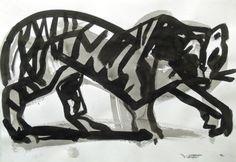 Tiger, tusch, 35x50cm