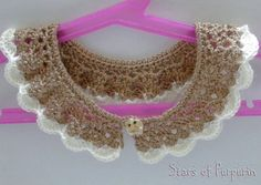 Brown and White Necklace/onto neck Peter Pan handmade crochet with wool.