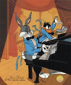 Bugs Bunny, Daffy Duck - Released 1997 - Edition Size 500 - Hand Signed by Chuck Jones - 12 Field Limited Edition Cel. Looney Tunes Characters, Looney Tunes Cartoons, Old Cartoons, Classic Cartoons, Animated Cartoons, Disney Cartoons, Cartoon Tv, Vintage Cartoon, Cartoon Shows
