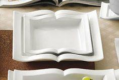 CAC GBK-110 Goldbook Book-Shaped Square China Pasta Plate 22 oz. - 12/Case