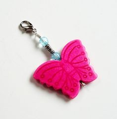 Hot Pink Howlite Turquoise Butterfly Zipper Pull/ by BijiBijoux,