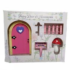 A beautiful fairy dwelling set consisting of a toadstool, a fairy door key, a beautiful fairies welcome sign , a fairy door and a pink picket fence. The perfect set to add to your fairy collection. Beautiful Fairies, Doors, Fairy Gardens, Frame, Home Decor, Picture Frame, Puertas, A Frame, Interior Design