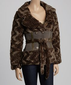 Another great find on #zulily! Brown Faux Fur Double-Breasted Jacket #zulilyfinds