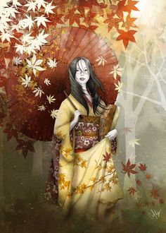 autumn geisha Illustration