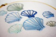 Image result for simple shell embroidery