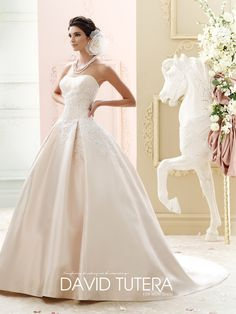 strapless ball gown wedding dress with pockets