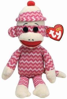 c4f1a40bda5 Punkies 95272  Ty Beanie Babies Socks The Monkey (Pink White Zig Zag) -