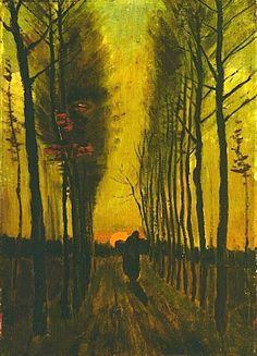 Lane of Poplars at Sunset Vincent van Gogh
