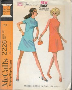 "Vintage 1969 McCall's 2226 Mod Dress in Two Versions Sewing Pattern Size 12 Bust 34"" by Recycledelic1 on Etsy"