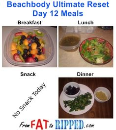 Beachbody Ultimate Reset Day 12 Meals