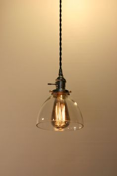 """6"""" Clear Glass Dome Pendant Light -"""
