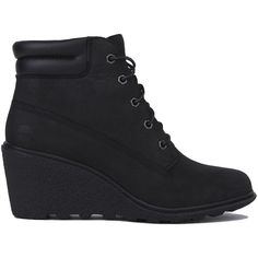 Timberland Women's Amston 6 Inch Wedge Boots - Black Nubuck ($130) ❤ liked on Polyvore featuring shoes, boots, ankle boots, black nubuck, black boots, wedges shoes, bootie boots and wedge heel boots