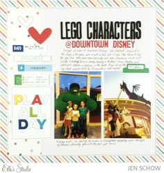 Lego Characters scrapbook layout by Jen Schow for Elle's Studio