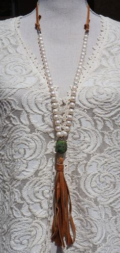 Boho Western Knotted Pearl and Suede Leather by fleurdesignz