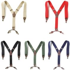 New Mens Womens Faux Leather Elastic Suspenders Wide Suit Y-Back 4 Clip Braces #springsummerfallwinter