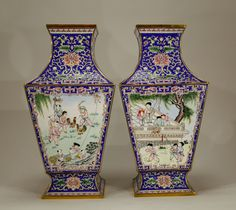 Lot 184 S65 - Pair of very Fine Carved Chinese Enamel Vases - Est. $6000-8000…
