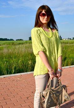 Neon yellow sweater  , Vero Moda in Pullover, Balenciaga in Borse, Cycle in Pantaloni, sal y limon in Gioielli, Miu Miu in Occhiali / Occhiali da sole
